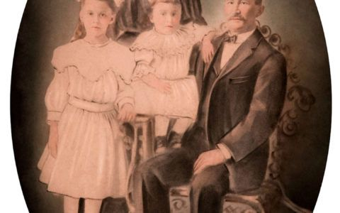 Restored photo of oval family portrait after photo repair.