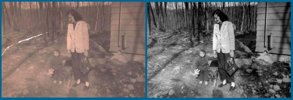 Photo Restoration of a woman her daughter and a dog in the dooryard